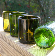 recycled glasses made from wine bottles
