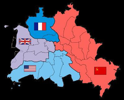 División territorial de Berlín entre los 4 países vencedores de la II Guerra Mundial
