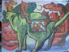 i gatti nella notte con folletti rossi periodo surreale olio