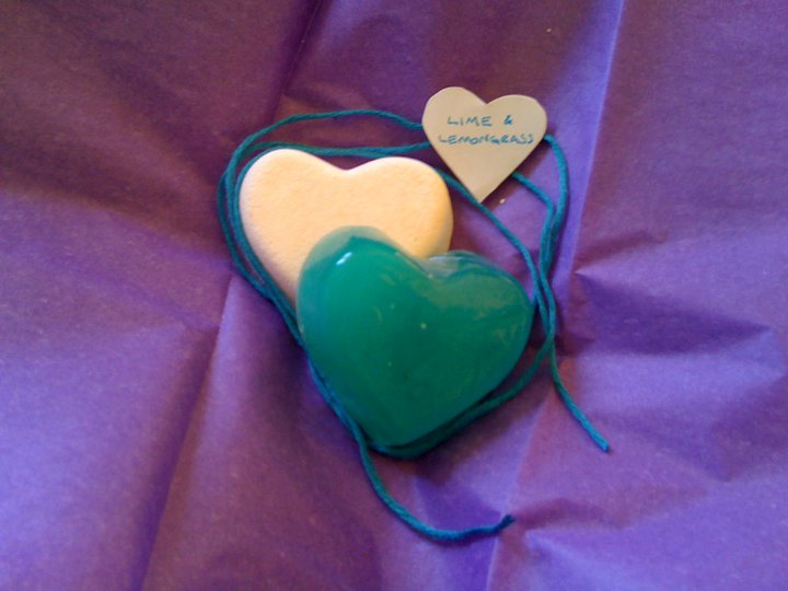 These were soaps made in the wedding colours of teal and purple and smelling