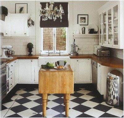 Black and white ceramic tile floor. My new kitchen has black and white tile