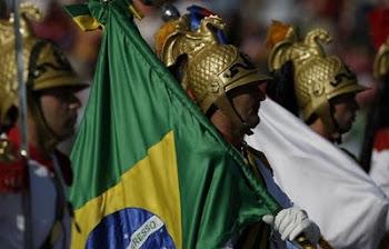 delegación de Brasil que concurrió a festejar la gran parada militar de Chile