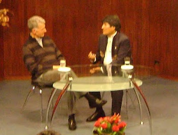 eduardo pérez iribarne entrevista a evo morales en la primera emisión de Fides Canal de TV
