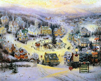 Thomas Kinkade Village Christmas Wallpaper