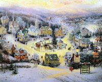 Thomas Kinkade Village Christmas Wallpaper