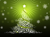 Vector Christmas Tree On Green Wallpaper