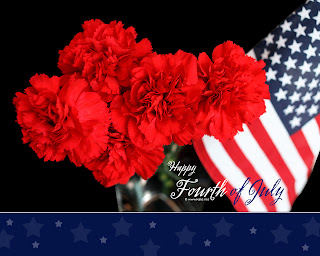 Fourth of July Carnation Flowers and Flag Wallpaper