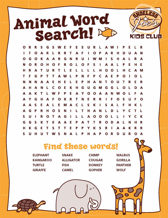 Zoo Word Search Printable | Search Results | Calendar 2015