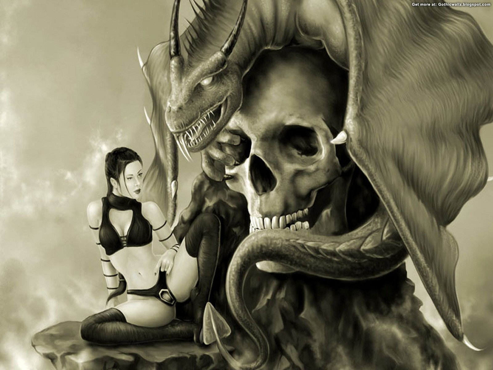 With The Skull | Gothic Wallpaper Download