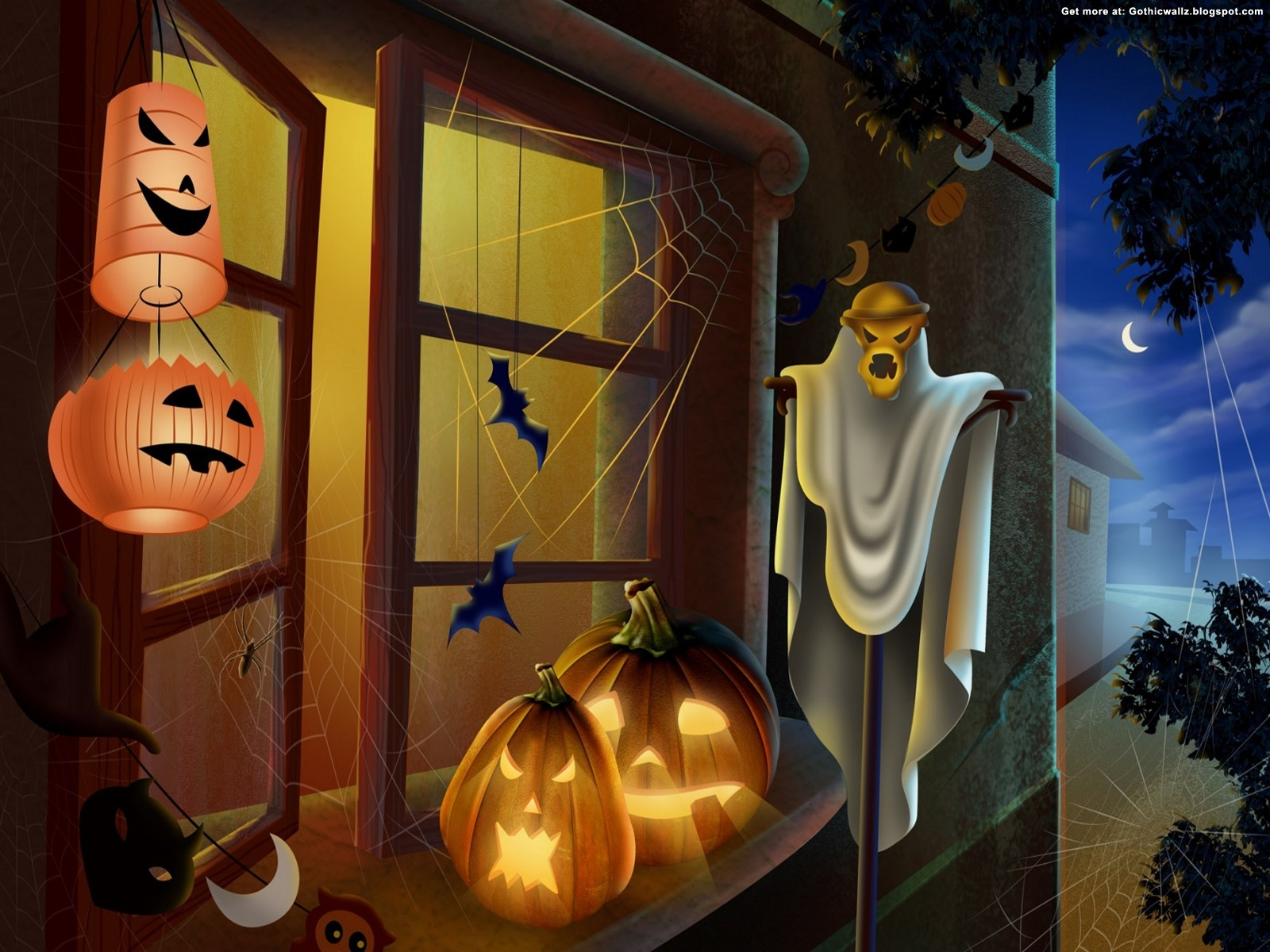 pumpkins on window | Gothic Wallpaper Download