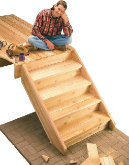how to build deck stairs with pre made stringers