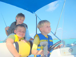The Boys Navigating the Boat in the Harbor
