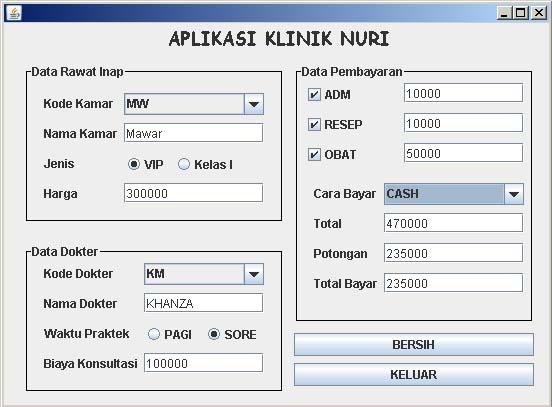 Aie Sendiri Latihan Java Net Beans Aplikasi Klinik Nuri Sederhana