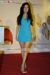 Riya Sen In little Blue Clothing Promote Agni Jewelry.