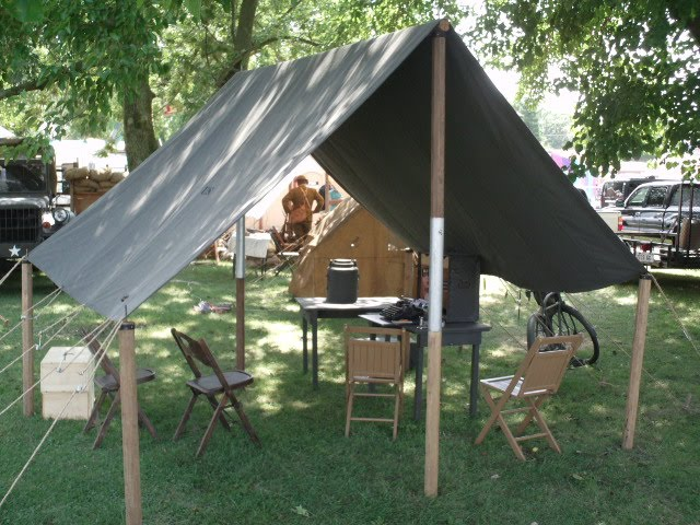 World War II Tent Fly with extra corner posts to stretch it further & Historical Military Tent Flys | Armbruster Tent Maker