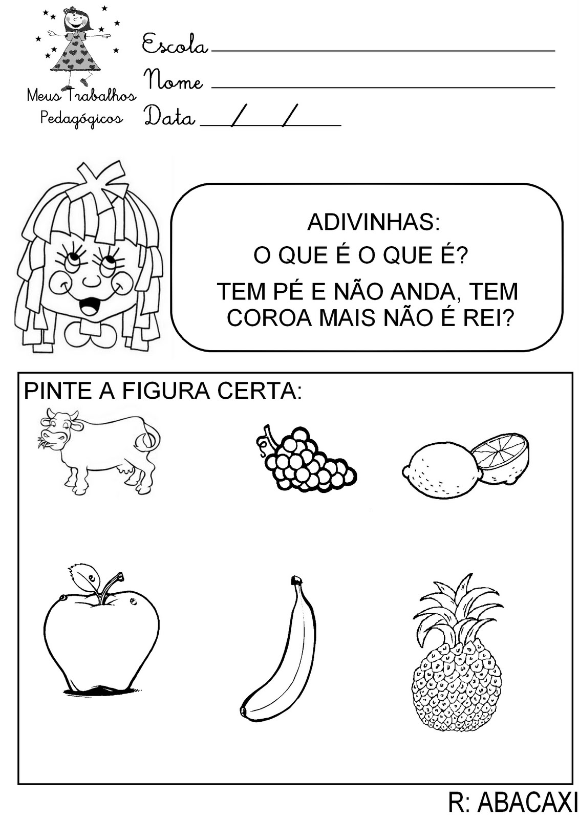 Fabuloso Meus Trabalhos Pedagógicos ®: Atividades Folclore - Números e  EC62