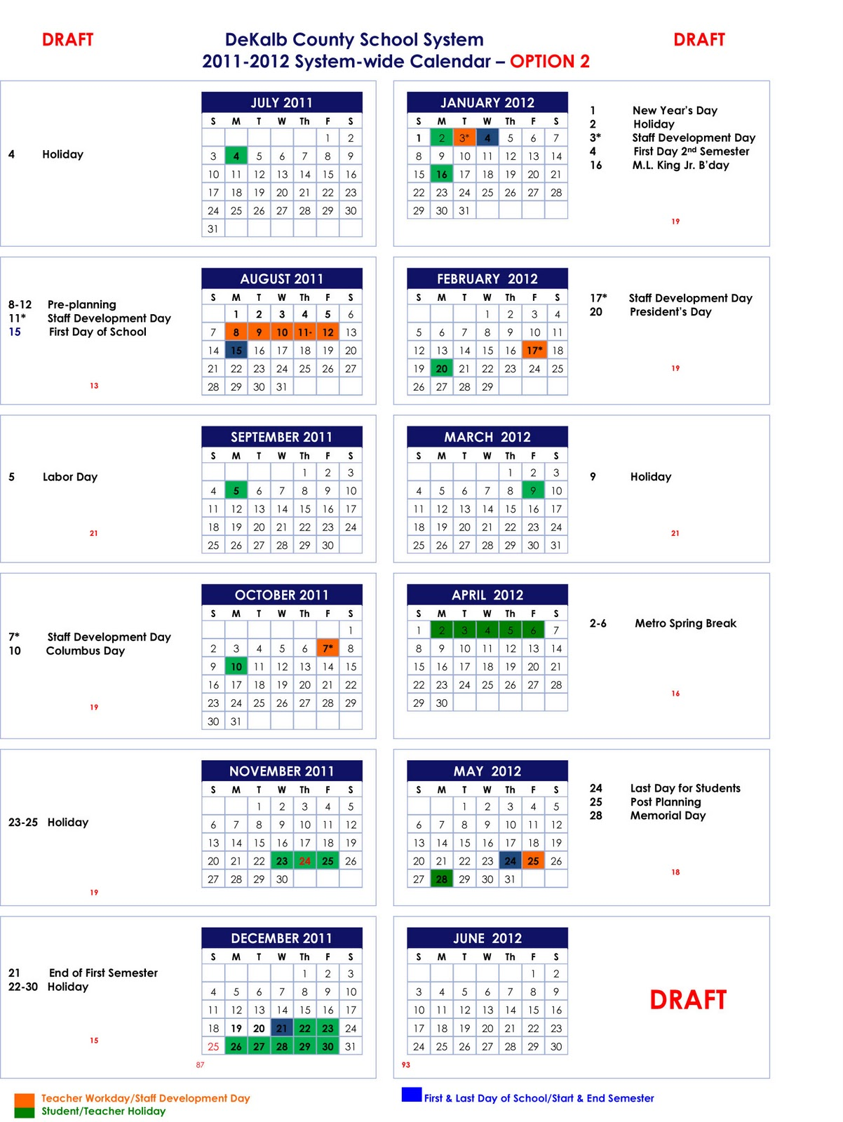 2011-2012 and 2012-2013 School Calendar Options