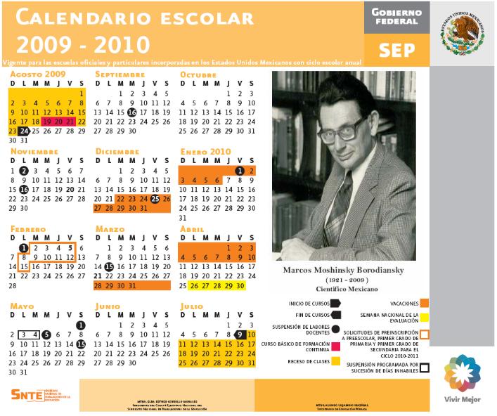 Supervisión Escolar Papantla: CALENDARIO ESCOLAR 2009-2010