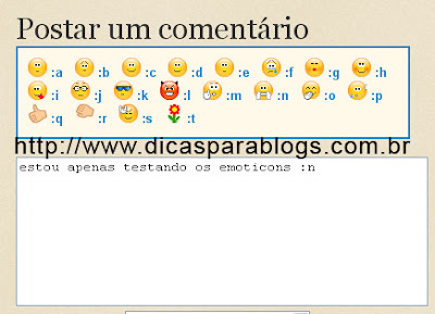 Emoticons nos comentários do blogspot