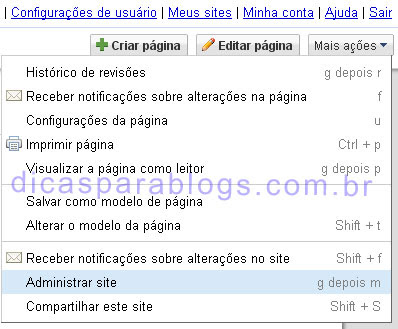 upload de imagens no google sites