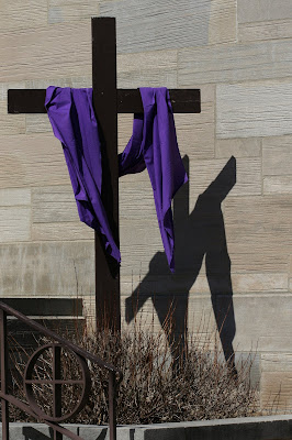Outdoor Lent Cross with shadow