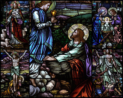 Collage of stained glass windows showing the life of Christ. Nativity, Gethsemane, Crucifixion, Resurection, Good Shepherd