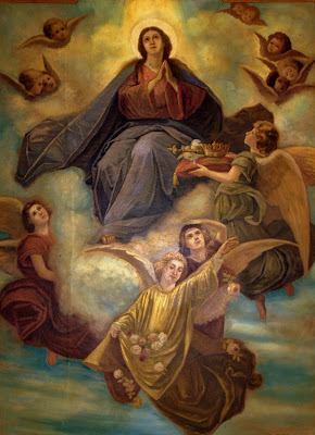 Ceiling mural with Mary in heavan surrounded by angels.