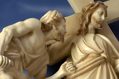 Close-up of the Station of the cross statue  where Jesus meets the sorrowful woman of Jerusalem