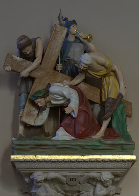 Station three of The Way of the Cross - Jesus Falls