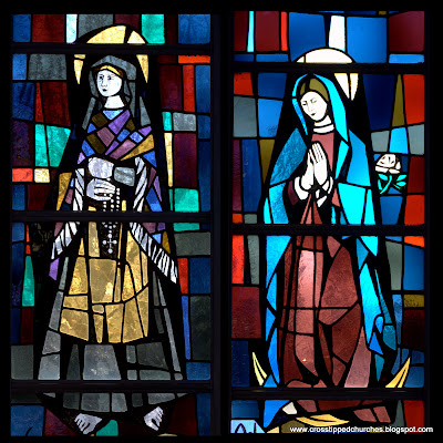 Modern stained glass widnow collage with Saint Bernadette on the left and Our Lady of Guadalupe on the right.