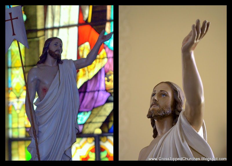 Statue of the Resurrected Christ holding a banner with a stained glass window in the background and a closeup of the same statue.