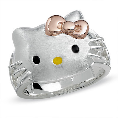 Hello Kitty Diamond Accent Ring in Satin-Finished and Pink Rhodium Sterling