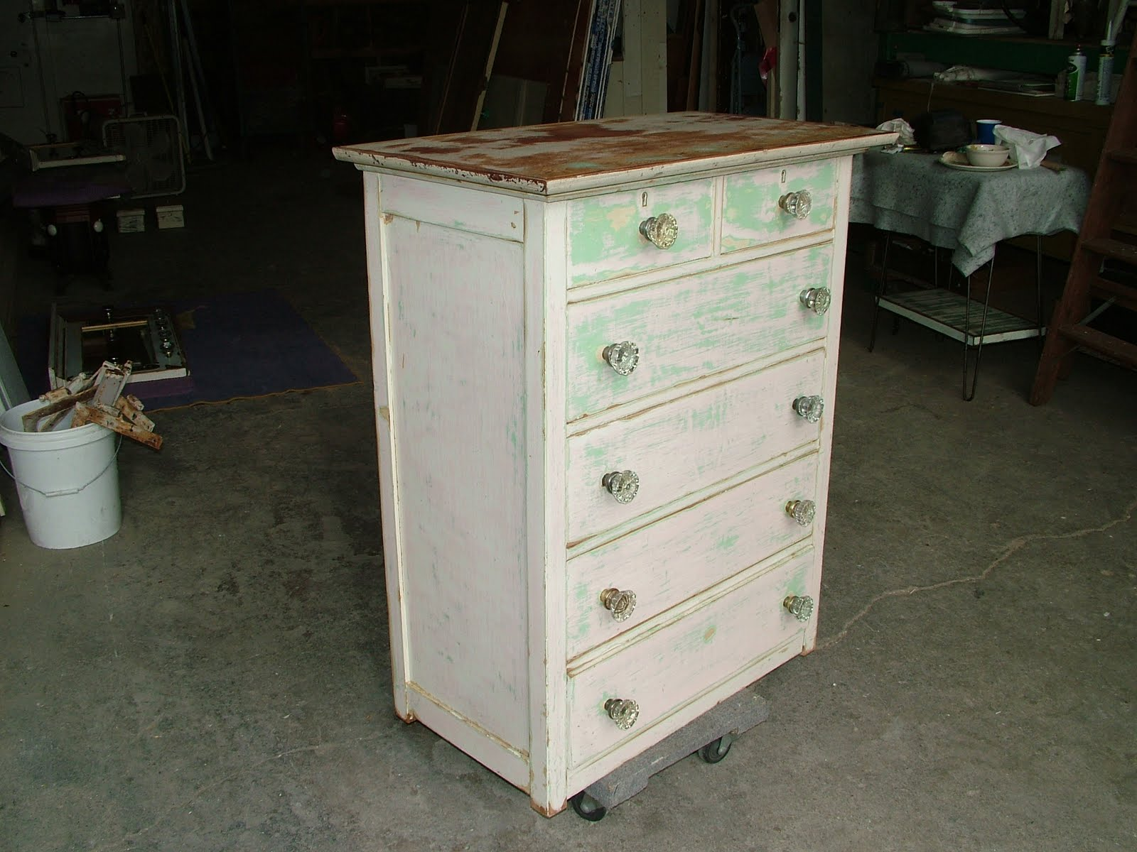 Green and White Distressed Furniture