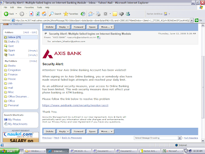 axis bank - phishing email