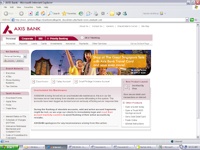 axis bank - phishing site