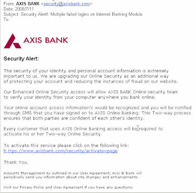 Email depicting as Axis Bank Security Alert