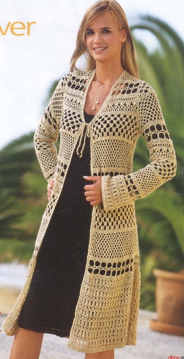 Free Crochet Patterns For Long Jackets : FIO MaGICO: CROCH? - CASACOS LONGOS - com graficos