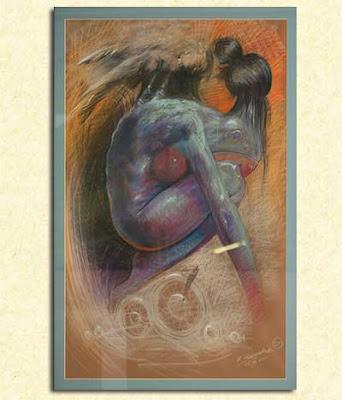 tabla pintada con oleos, diseño de un tattoo de Robert Hernandez!