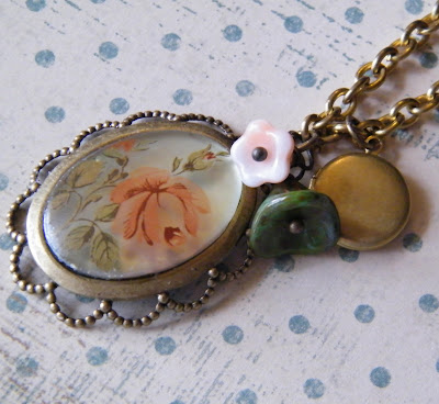vintage style rose flower shabby chic cameo locket necklace