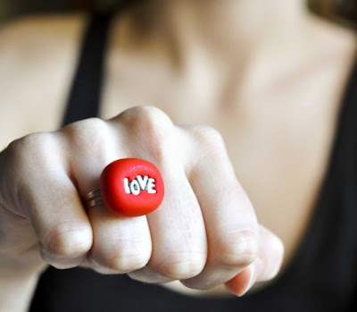 red love polymer clay unique valentine day jewelry ring