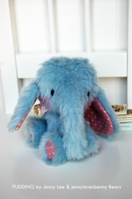 boutique plush blue baby elephant art doll toy cute