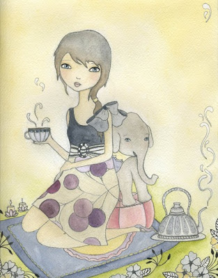 tea  party girl elephant drawing art nursery decor