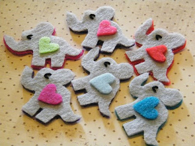 felt elephant heart embellishments cute kawaii girl littlelovables