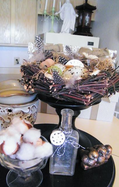 vintage jeweled robins egg nest