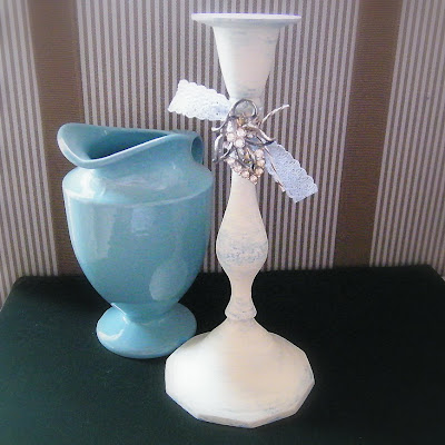 shabby chic vintage jeweled ivory creme candlestick holder blue creamer