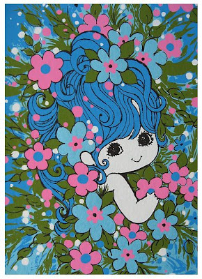 vintage retro 70s seventies blue flower power pixie girl cute kitsch mothers day card