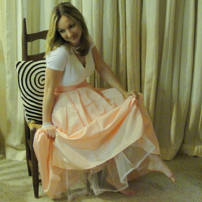 vintage pink peach taffeta poofy formal prom bow skirt