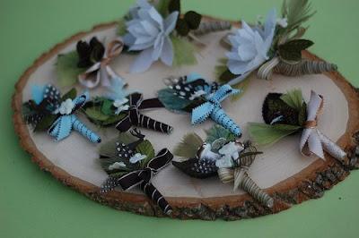 woodland wedding feathers flower mushroom boutoneer