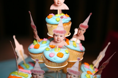 baby first birthday cupcake cake topper