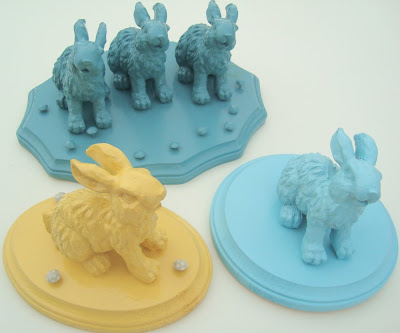 bunny, wall art, jewelry holder, aqua, yellow, blue, rabbit, pop art